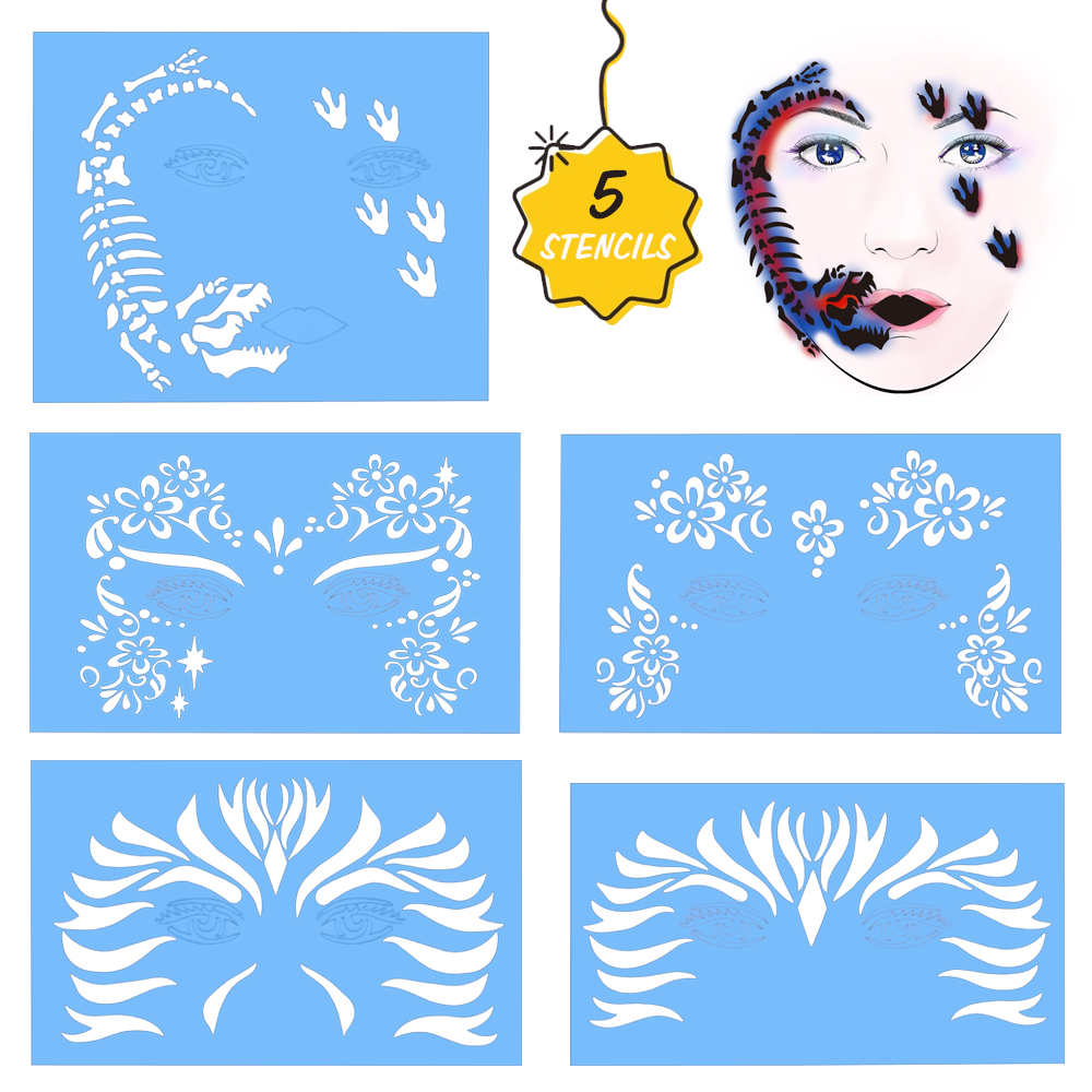 Reusable Face Painting Stencil Halloween Christmas Carnival Makeup Stencil Body Facial Paint Template Drawing Tattoo Design Tool