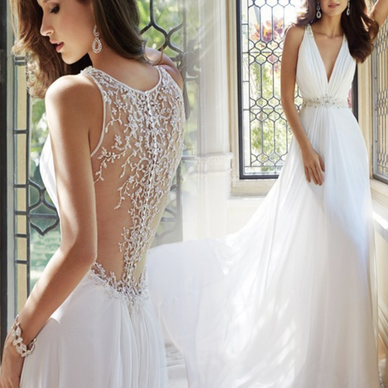 Robe de mariee Slessless Elegant <font><b>Wedding</b></font> <font><b>Dress</b></font> Lace Applique <font><b>Wedding</b></font> <font><b>Dress</b></font> <font><b>Sexy</b></font> Deep V Neck Bride <font><b>Dress</b></font> for <font><b>Wedding</b></font> image