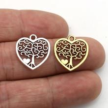 JAKONGO Antique Silver Plated Tree of life Heart Charm Pendants Jewelry Accessories Making Bracelet DIY 18X16mm 20pcs/lot