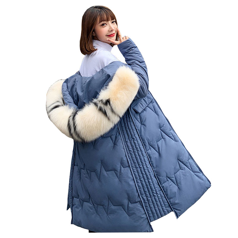 Chic Long Fur Coat Hooded Bakery Winter Down Coat Heavy Jacket Oversize Thick Warm Cotton Padded Wadded Parkas
