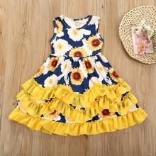 Летние платья для девочек, красивое платье принцессы с цветами, платье-пачка для маленьких девочек, фатиновое платье, повседневная одежда, п...