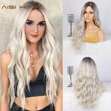 AISI pelucas de pelo largo para mujer postizo ombré rubio platino, resistente al calor, ondulado, sintético lateral, para Mujeres Afro Americanas