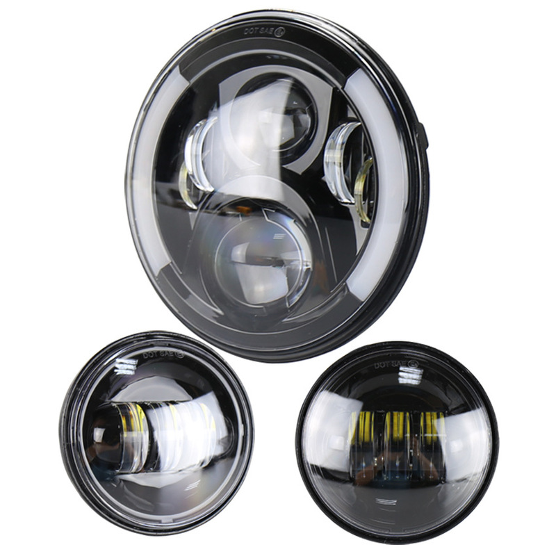 The Vectra Motorcycle Performance Fog Lamps Light Led Headlight Combination 4.5 Inch 30 W Fog Lamps 7 Inch 50 W Lamps