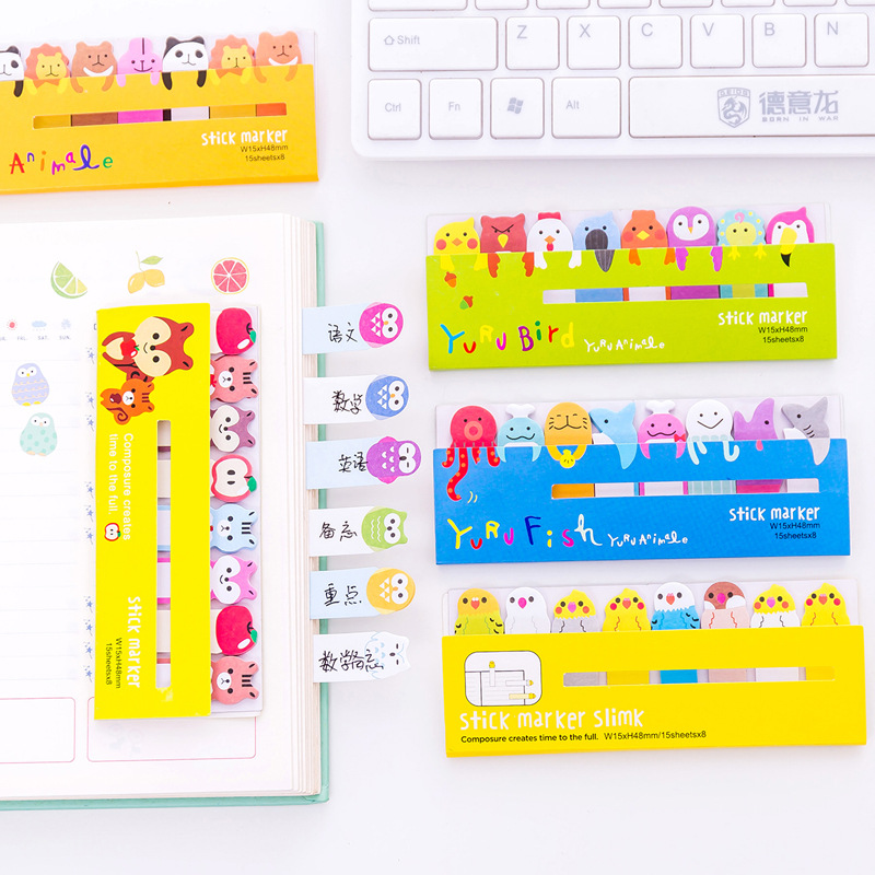 Kawaii Memo Pad Bookmarks Creative Stationery Cute Animal Sticky Notes Index Posted Planner School Supplies Paper Stickers