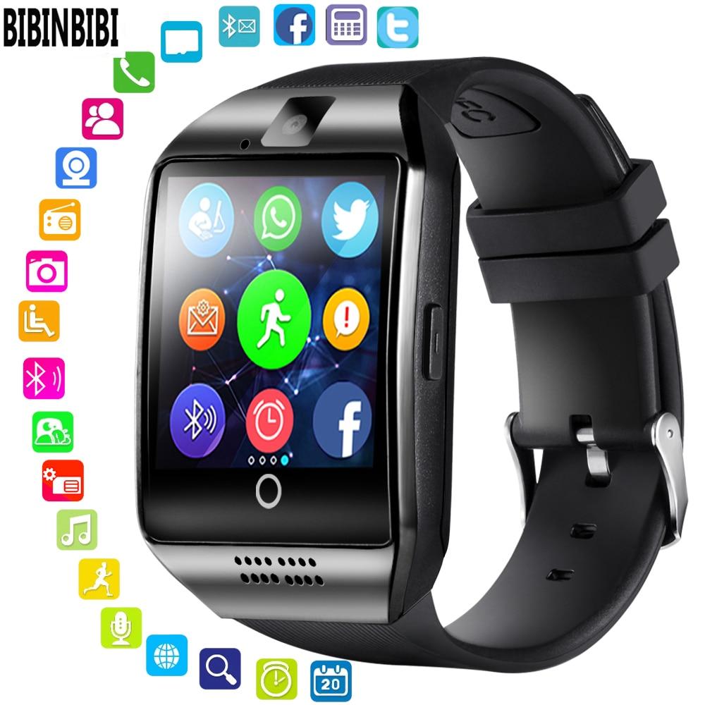Где купить 2020 Bluetooth Смарт-часы для мужчин Q18 с сенсорным экраном большая батарея поддержка sim-карты камера для телефона Android Smartwatch