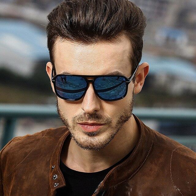 Gafas de Sol polarizadas y cuadradas para hombre, lentes de sol masculinas a la moda, estilo cuadrado con gradiente, adecuadas para conducir, diseño vintage de marca, 2020 2