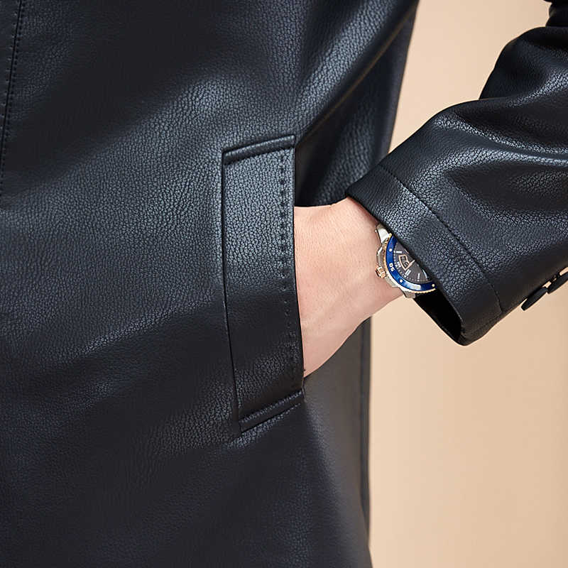 로얄 가죽 겉옷 플러스 사이즈 8xl 7xl 6xl 5xl 남성용 긴 다크 블랙 가죽 겉옷 패션 양가죽 겉옷