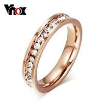 Vnox милое женское кольцо цвета розового золота с фианитами