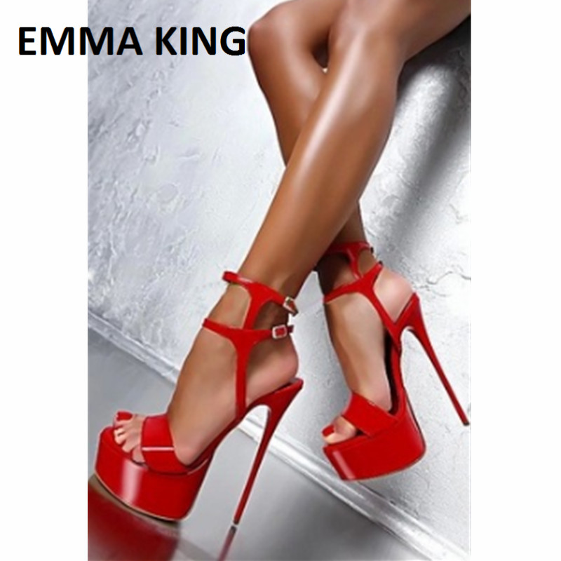 EMMA KING 2019 Extreme <font><b>High</b></font> <font><b>Heel</b></font> Sandals Peep-toe Pumps <font><b>Sexy</b></font> <font><b>17CM</b></font> Super <font><b>High</b></font> <font><b>Heels</b></font> Gladiator Buckle Strap Fashion Womens Shoes image
