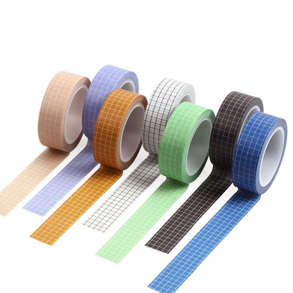 1 Pc 15mm×10m Grid Printed Pattern Pure Color Washi Tape Sticky Adhesive Decorative Masking Paper Tape DIY Scrapbooking Sticker