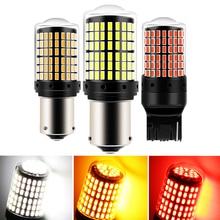 1 шт. 1156 BA15S P21W BAU15S PY21W светодиодный T20 7440 W21W P21/5 Вт 1157 BAY15D светодиодный лампы 144smd CanBus лампы для поворотов светильник 12V