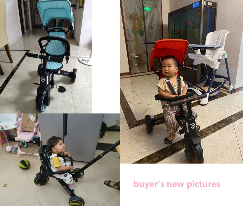 uonibaby multi-functional 3 wheels baby stroller tricycle slid baby artifact trolley walking baby foldable light baby bicycle