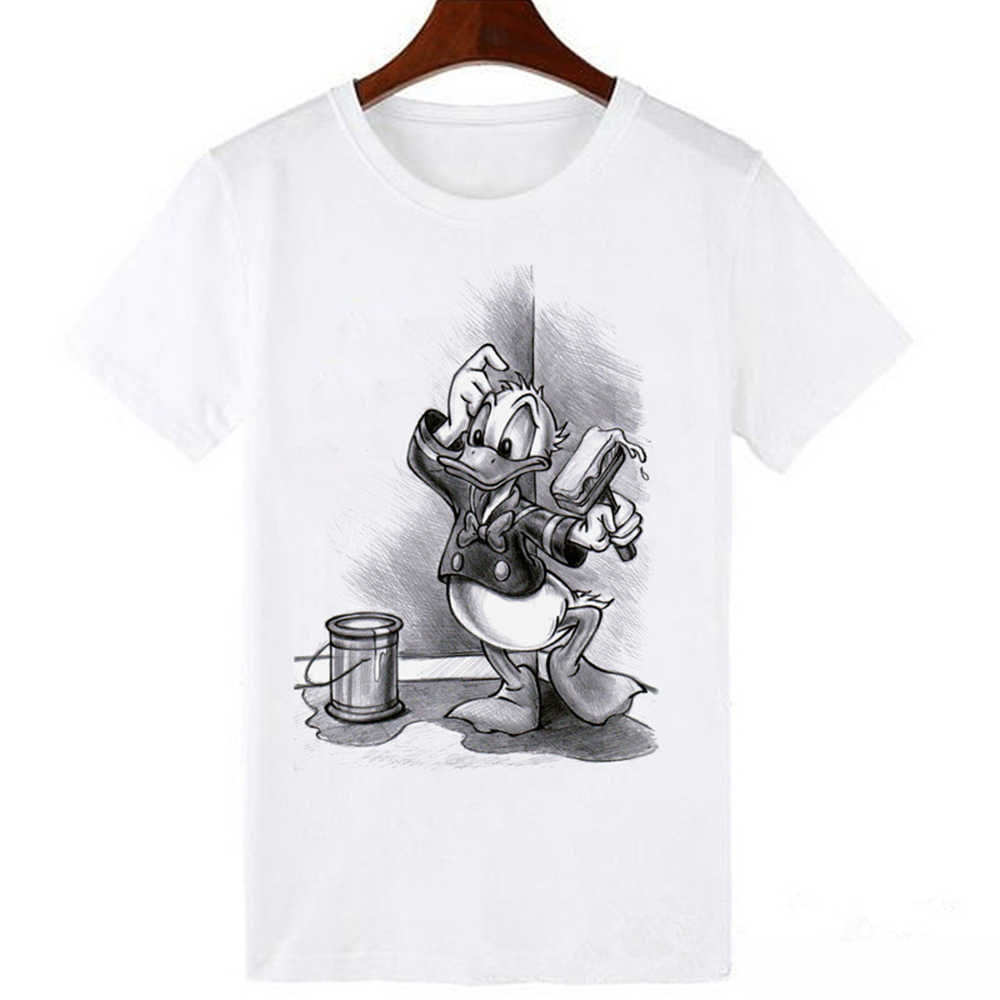 LUCKYROLL Nette Donald Duck Cartoon Print T shirt Frauen Sommer Beiläufige Kurze Hülse O-ansatz T-shirt Damen Weiß T Top