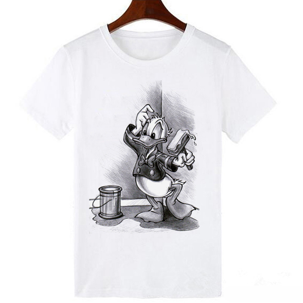 LUCKYROLL Cute Donald Duck Cartoon Print T Shirt Women Summer Casual Short Sleeve O-Neck T-shirt Ladies White Tee Top