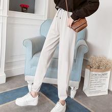 цены Plus Size Women Pants Korea Style Middle Waist Cotton Pants Strechy Sports Drawstring Leggings Fashion Ankle Length Pants