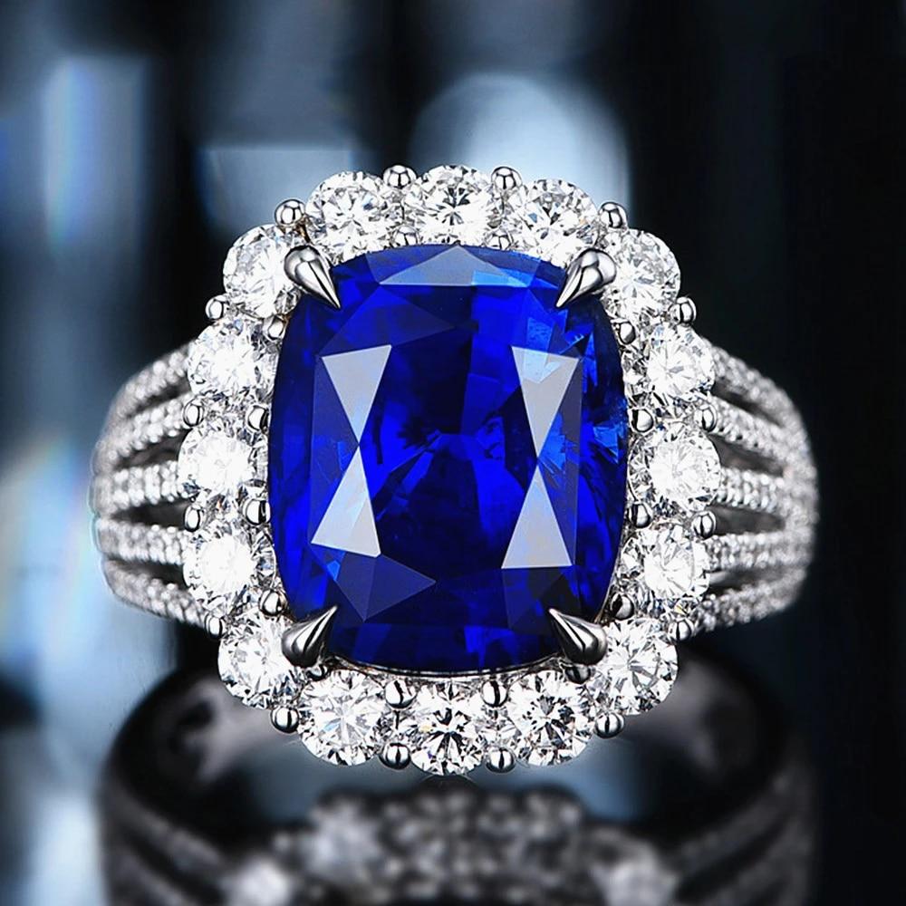 Bagues de luxe en cristal bleu saphir, pierres précieuses, diamants pour  femmes, or blanc 18k, couleur argent, bijoux, cadeaux de fête
