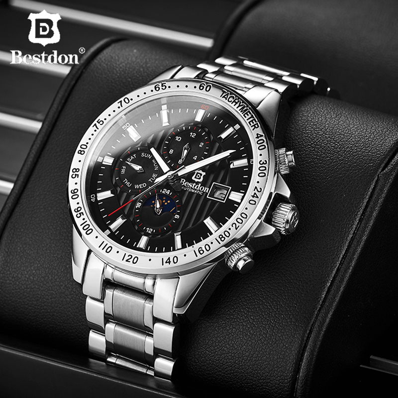 Bestdon Sapphire Crystal Watch Men Mechanical Automatic Military Man Watches Top Brand Luxury Moon Phase Black Relogio Masculino