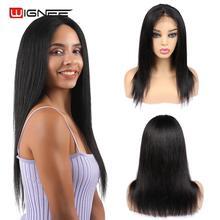 Wignee 4x4 закрытие шнурка прямые волосы человеческие волосы парик для черных/белых женщин предварительно сорвал естественные волосы Remy бразильские человеческие волосы парик