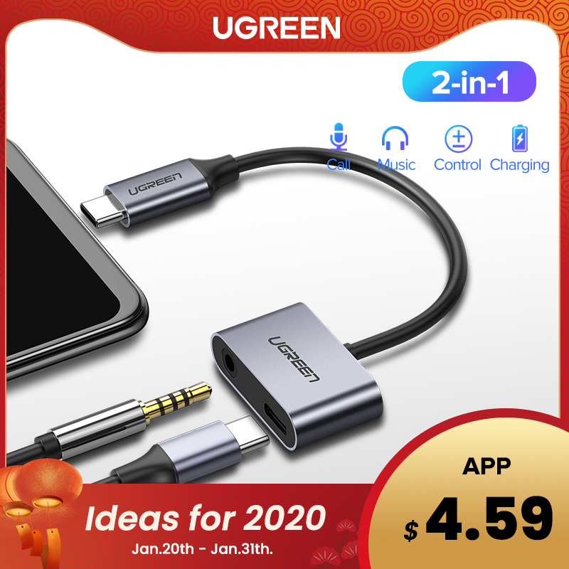 Ugreen USB C To Jack 3.5 Type C Cable Adapter For Huawei P20 Pro Xiaomi Mi 6 8 9 Se Note USB Type C 3.5mm AUX Earphone Converter