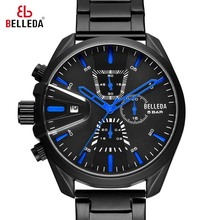 BELLEDA Luxury Brand Mens Military Sports Male Analog Black Quartz Chronograph