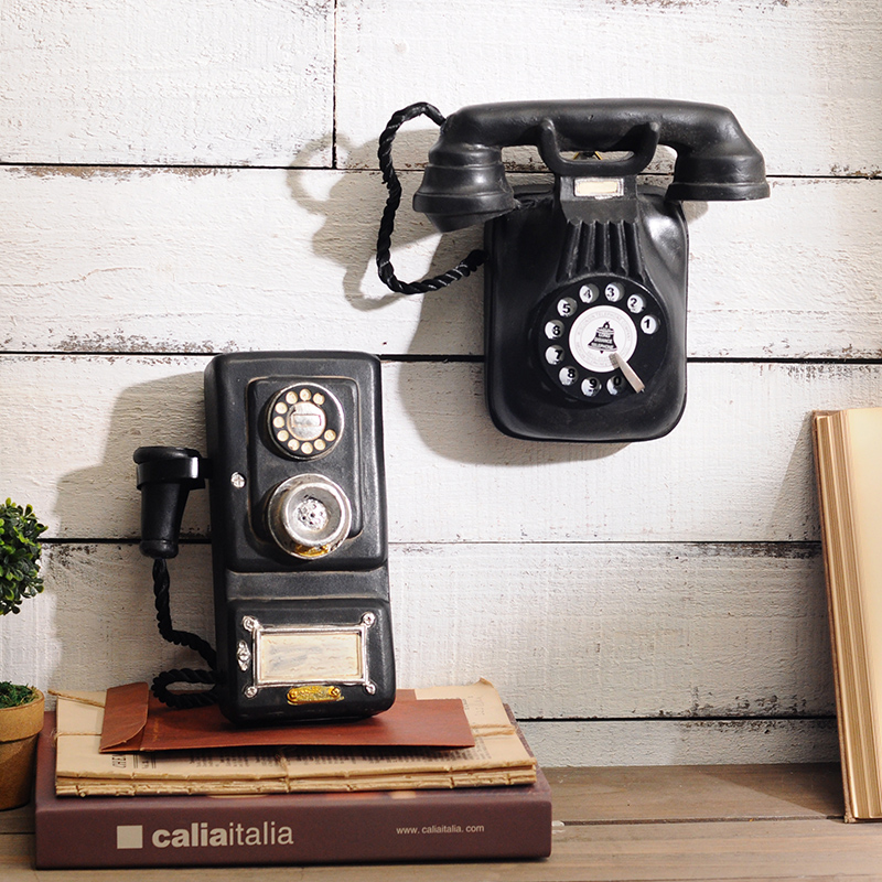 Vintage Telephone Statue Antique Shabby Resin  Phone Figurine Home Decor Model Mitation Nostalgia Ornament Gifts