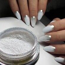 1 stücke Silber Spiegel Magie Pigment Pulver Maniküre Staub Glänzende Gel Polish Nail art Glitter Chrom Pulver Flake Dekorationen BE04S 1