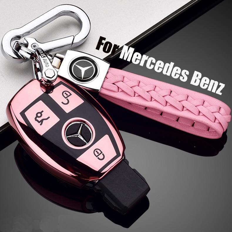 ZOBIG TPU+PC Car Key Case Cover Key Holder Chain Ring For Mercedes Benz W203 W210 W211 W124 W202 W204 AMG