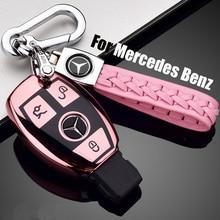 ZOBIG TPU+PC Car Key Case Cover Holder Chain Ring For Mercedes Benz W203 W210 W211 W124 W202 W204 AMG