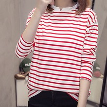 Women Summer Stripe Print Tshirt Korean Fashion V Collar Loose Tops Casual Long Sleeve T-Shirt Clothes 2019 New