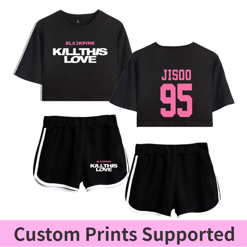 Blackpink Kill This Love Two Piece Set Women's Fashion Summer Clothes For Women Mini Sexy T Shirt Two Piece Set Top+Pants Crop