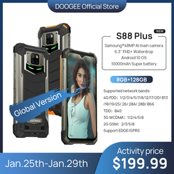 Pre-sale IP68/IP69K DOOGEE S88 Plus Rugged Mobile Phone Global version 48MP Main Camera 8GB RAM 128GB ROM Android 10 OS