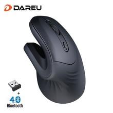 DAREU Magic эргономичная Вертикальная беспроводная мышь Bluetooth 4,0+ 2,4 ГГц Двойной Режим 1600 dpi кожа мыши с 3D колесо прокрутки для компьютера