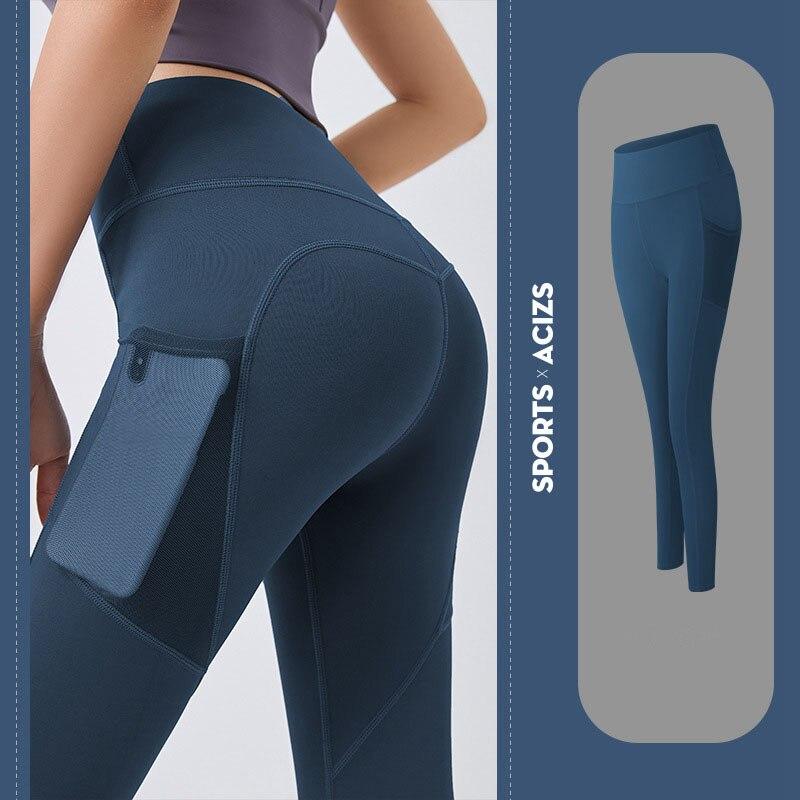 Ladies pocket tight yoga pants leggings women's sports leggings running leggings women's fitness pants high waist sportswear