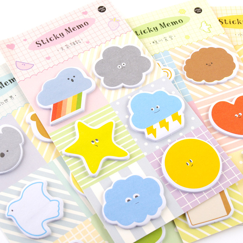 Cute Weather Memo Pads Kawaii Animal Sticky Notes Adhesive Writing Notepad For Kid Girls Gifts School Office Supplies Stationery