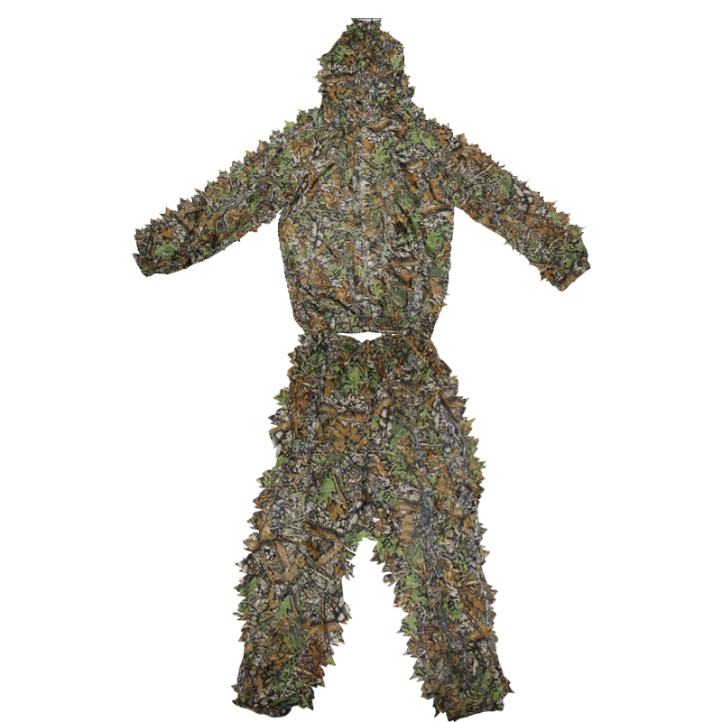 Men Tactical Hidden Ghillie Suit Outdoor Leaf <font><b>Jungle</b></font> Camouflage Military Hunting Sniper Durable Clothing Hooded Pants + Clothes image