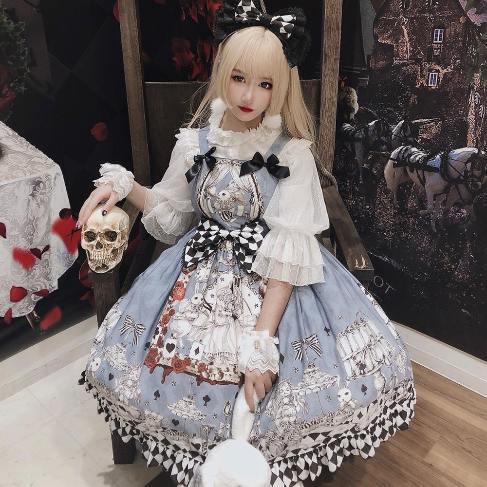 Sweetheart Lolita Goth Retro Mourning Alice Jsk Chiffon Dress Gothic Palace Sweet Princess Lolita Dress Vintage High Waist