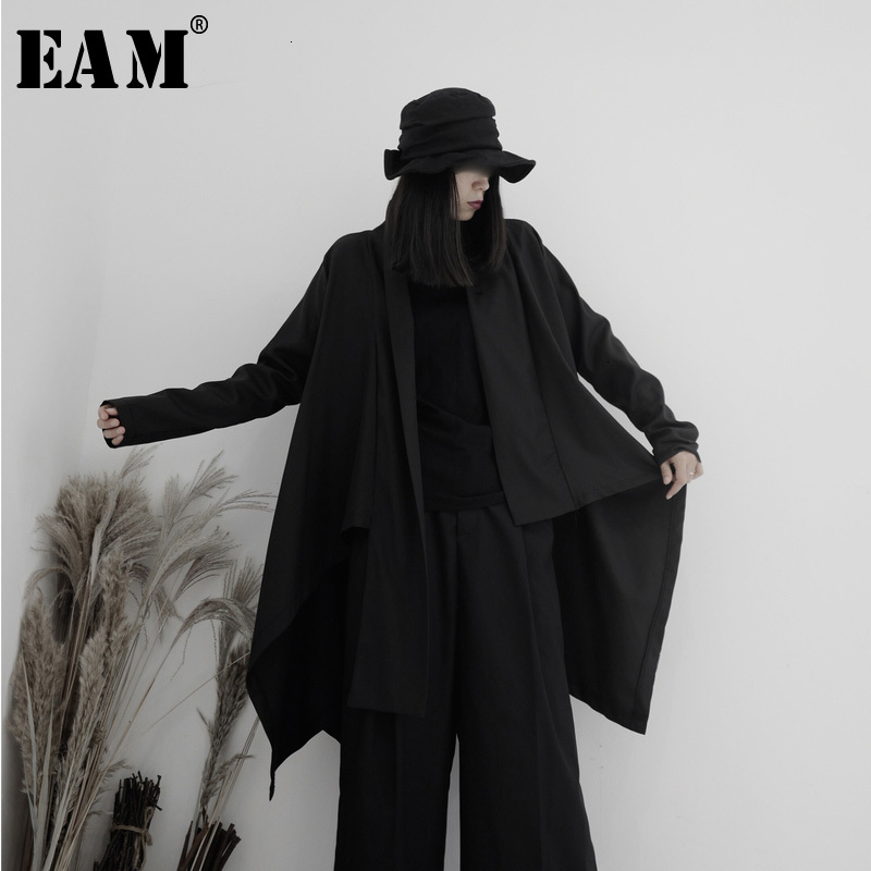 [EAM] Women Black Asymmetrical Big Size Trench New V-neck Long Sleeve Loose Fit Windbreaker Fashion Spring Autumn 2020 19A-a619