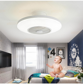 50cm led ceiling fan with light remotre control 110v 220v bedroom lamps children room home restaurant 40w three color changing image