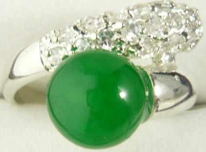 ขายส่ง noble สีเขียวหยกธรรมชาติคริสตัล inlay แหวนแฟชั่น (#7.8.9)
