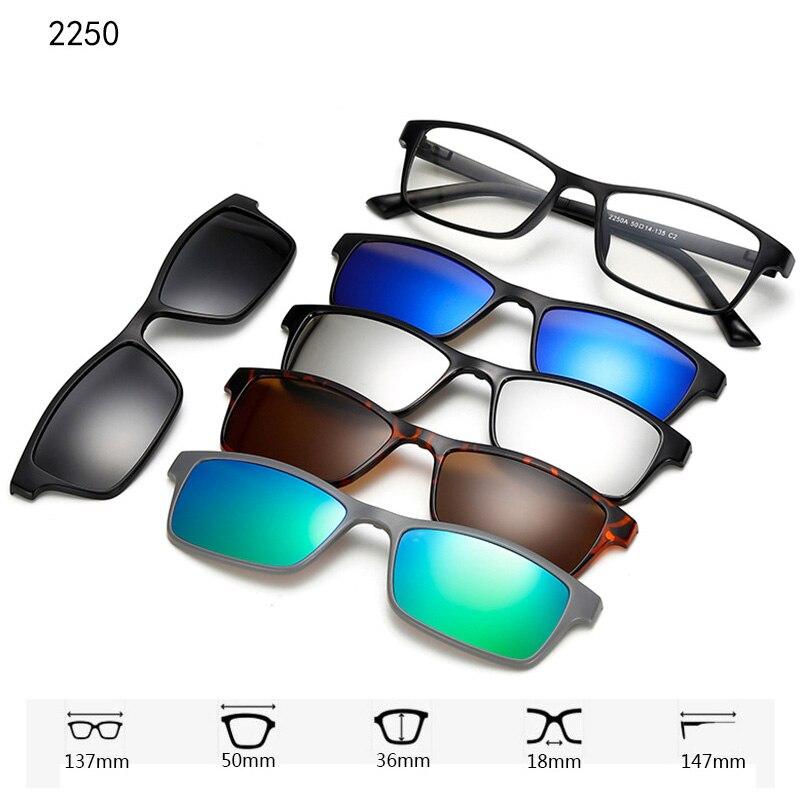 Поляризационные солнцезащитные очки для мужчин и женщин, 5 в 1, Винтажные Солнцезащитные очки на магнитной застежке, очки ночного видения
