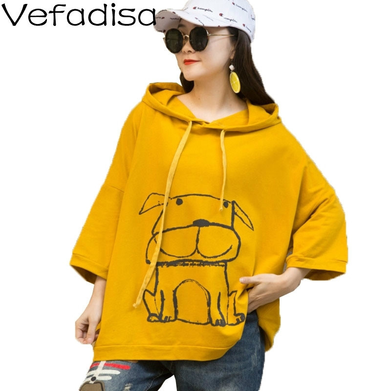 Vefadisa Animal Dog Print Women Sweatshirt 2020 Spring Half Sleeve Pullover Sweatshirt Hoodies Black White Red Yellow QYF2110