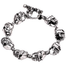Punk Style Skull Chain Bracelet HipHop Series Shiny Skeleton Head Zinc Alloy Bracelet Birthday Gifts Male Gothic Jewelry(China)