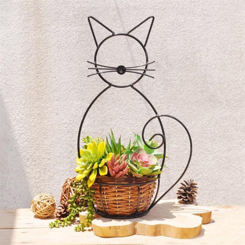Cat Shape Iron Shelving For Flower Basket Garden Planter Standing Structure Modern Brief Metal Decorations (Random Color)