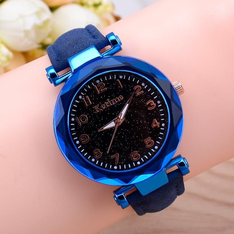 Women Fashion Watches Hot Sale Cheap Starry Sky Ladies Bracelet Watch Casual Leather Quartz Wristwatches Relogio Feminino D7