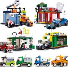Городской автомобиль совместим с Legoingly гараж гоночный автомобиль мусоровоз модель автобус техника строительные блоки наборы игрушки для детей