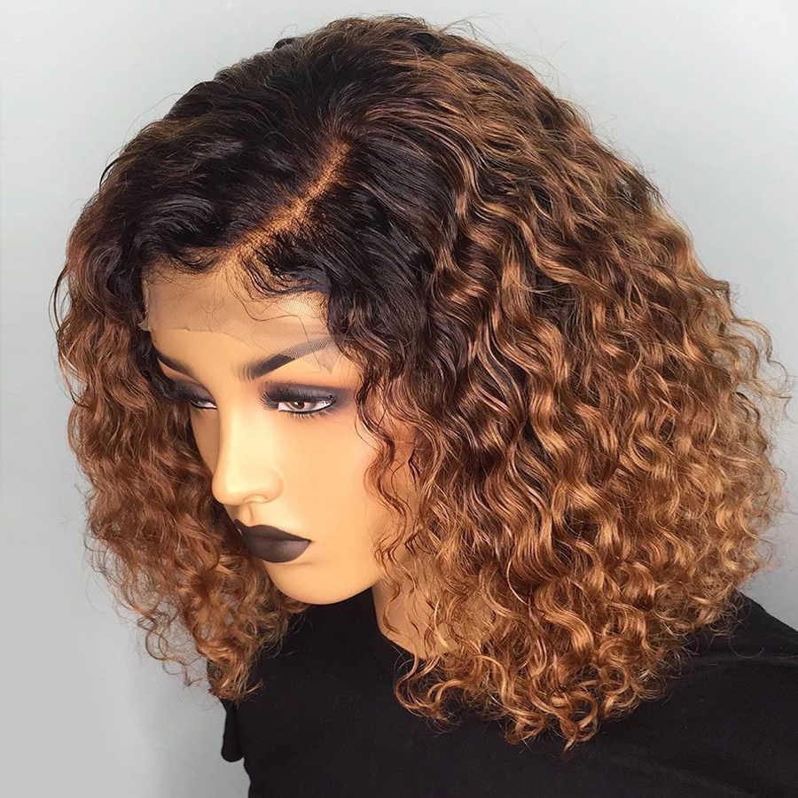 Глубокая часть 1b/30 кудрявые человеческие волосы парик влажные и волнистые 13*6 кружевные передние человеческие волосы парики короткий боб парик предварительно сорванные бразильские волосы remy