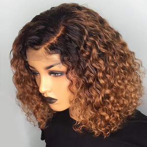 Image 2 - Deep Part 1b/30 Curly Human Hair Wig Wet and Wavy 13*6 Lace Front Human Hair Wigs Short Bob Wig Pre Plucked Brazilian Remy Hair