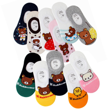 Cartoon Bear Kawaii Cute Animal Slippers Women Socks Cotton High Quality Korean Style Non-Slip for Female Boat