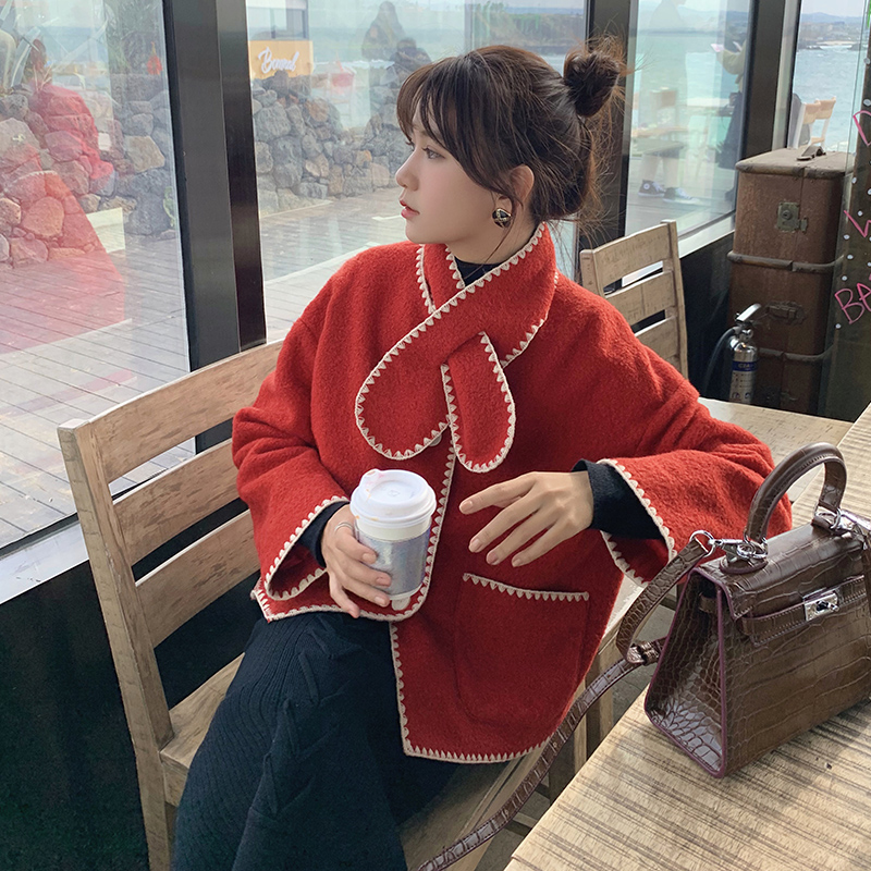 MISHOW Atumn Winter Festive Style Red Woolen Coat Women Causal Lambswool Scarf Single-breasted Coat Tops  MX19D9587