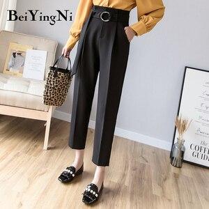 Beiyingni High Waist Suit Pants Female Vintage Classic Slim Office Ladies Pants Sashes Casual Korean Style Trousers Women Retro